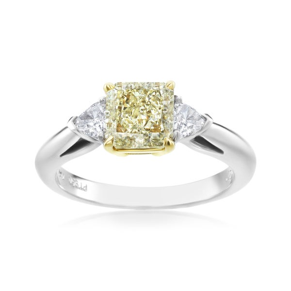 SummerRose, Platinum/18kt 1 4/5 TDW Yellow Trillion 3 Stone Ring