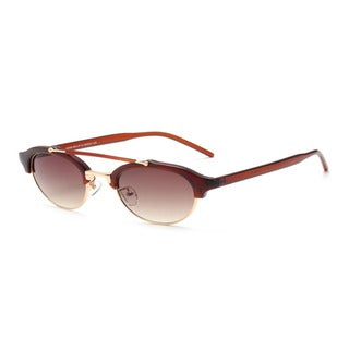 Round, Half Frame Horn Rimmed Sunglasses 48MM