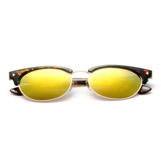 Half Frame Horn Rimmed, Round Sunglasses with Colored Lens 56MM