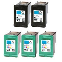 5PK 2 x C9362WN (HP 92) + 3 x C9361WN (HP 93) Compatible Ink Cartridge For HP Deskjet 5420 Photosmart C3100 ( Pack of 5 )