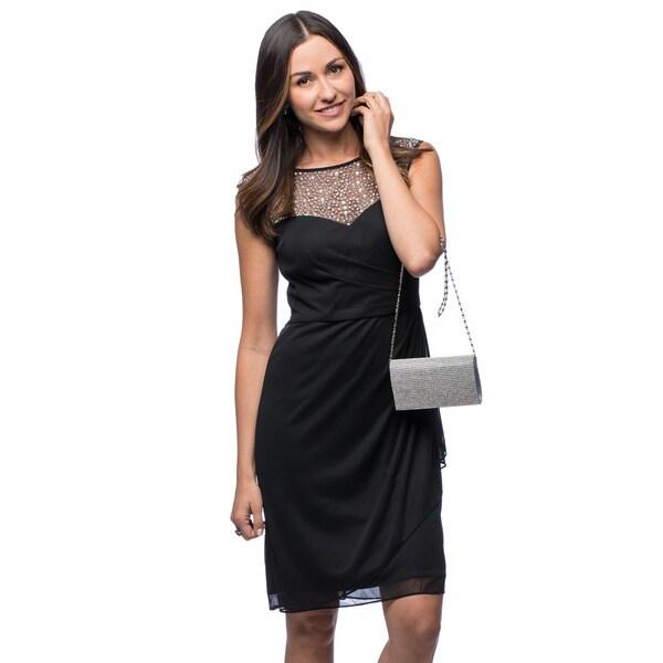 Shop Patra Womens Rhinestone Illusion Neckline Dress Free