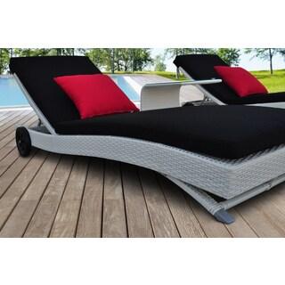 SOLIS Zori Outdoor White 3-piece Chaise Lounger Wicker Rattan Patio Set