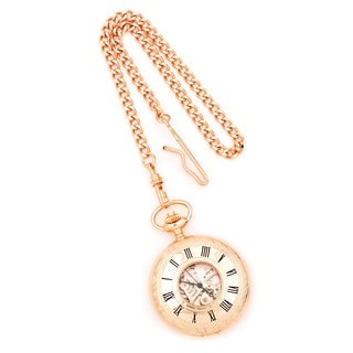 Versil Charles Hubert Rose Gold Finish Brass Window Cover Pocket Watch