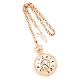 Versil Charles Hubert Rose Gold Finish Brass Window Cover Pocket Watch