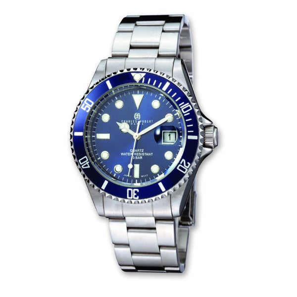 Men's Charles Hubert Stainless Steel Blue Dial Diver Watch by Versil - White. Opens flyout.