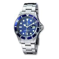 Versil Men's Charles Hubert Stainless Steel Blue Dial Diver Watch