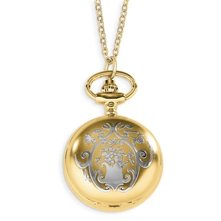 Versil Charles Hubert Two-tone Floral Design Pendant Watch