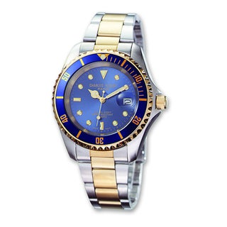 Versil Mens Charles Hubert Two-tone Stainless Steel Blue Dial Watch