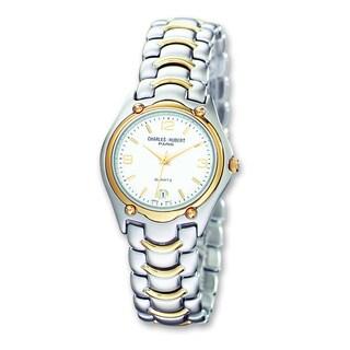 Versil Mens Charles Hubert Two-tone Brass Silver White Dial Watch