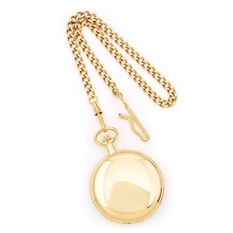 Charles Hubert 14K Yellow Gold Polished Finish White Dial with Date Pocket Watch by Versil - Goldtone