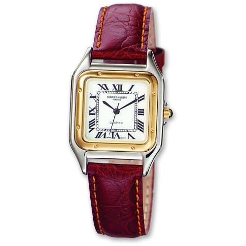 Men's Charles Hubert Leather Band White Dial Retro 32mm Watch by Versil