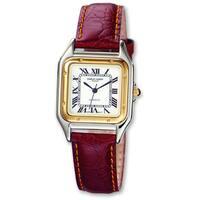 Versil Men's Charles Hubert Leather Band White Dial Retro 32mm Watch