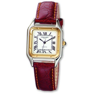 Versil Men's Charles Hubert Leather Band White Dial Retro 32mm Watch