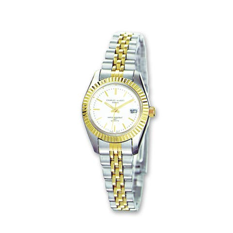 Ladies Charles Hubert Two-tone Stainless Band Silver Dial Watch by Versil