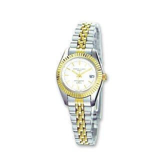 Versil Ladies Charles Hubert Two-tone Stainless Band Silver Dial Watch