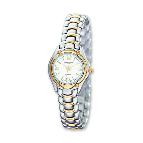 Women's Charles Hubert Two-tone Brass White Dial Watch by Versil