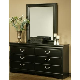 Sandberg Furniture Regency Black Finish 6 Drawer Dresser And Mirror Set