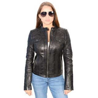 Women's Lambskin Leather Scuba Collar Jacket
