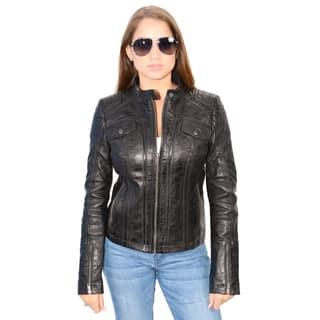f60226bb7d28b Women s Lambskin Leather Scuba Collar Jacket