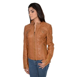Women's Lambskin Leather Scuba Collar Jacket (4 options available)