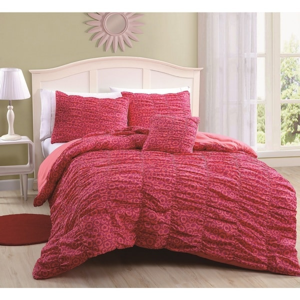 Mandy Kaitlyn Coral  4-piece Comforter Set
