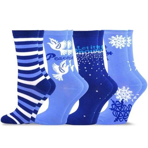TeeHee Women's Blue Holiday Socks (Set of 4)