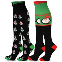 Christmas Holiday Snowman and Penguin Over-the-Knee Socks