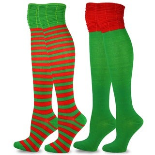 Christmas Holiday Colorblock Ruched Top Over-knee 2-pack High Socks