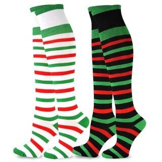 Christmas Holiday Black/ Green Over-the-Knee 2-pack Socks
