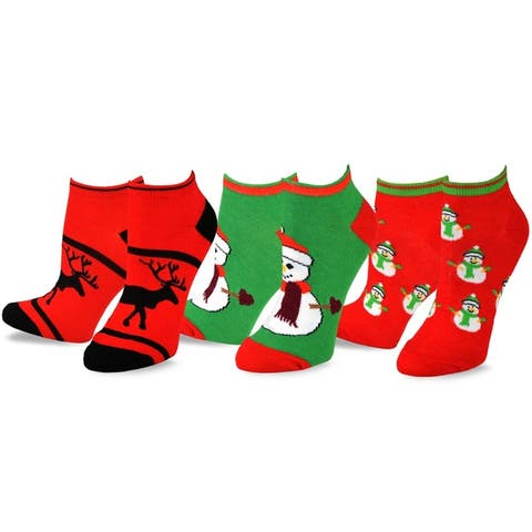 Womens Christmas Reindeer and Snowman Ankle Socks (3 Pack)