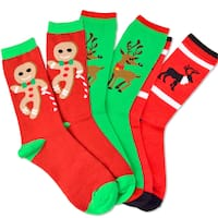 Men's Christmas Reindeer and Gingerbread Man Crew Socks (Pack of 3)