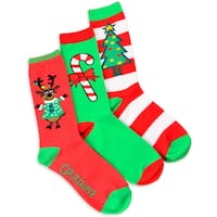 Women's Christmas Reindeer and Candy Cane Crew Socks (Pack of 3)