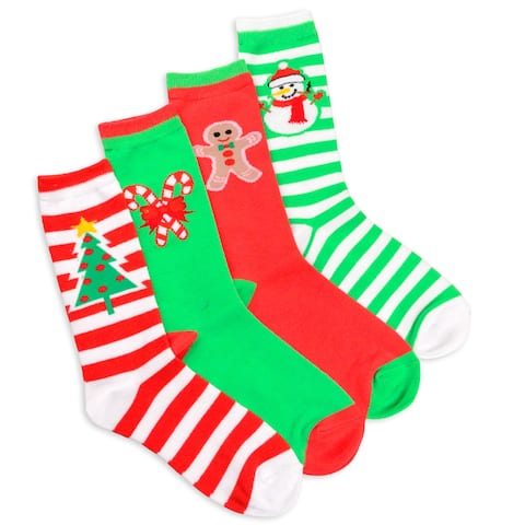 Womens Christmas Striped Tree and Snowman Crew Socks 4 pack