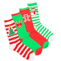 Women's Christmas Striped Tree and Snowman Crew Socks (Pack of 4)