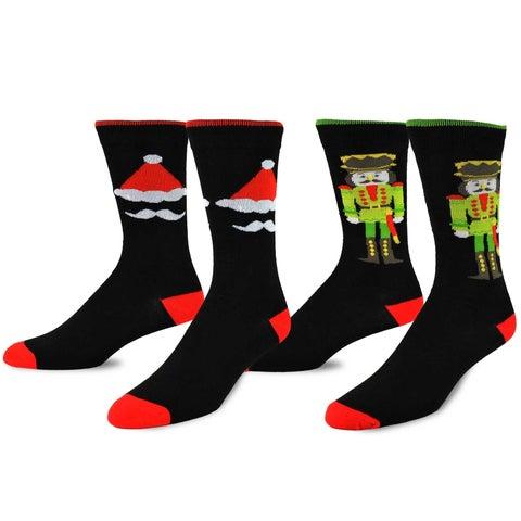 TeeHee Christmas and Holiday Fun Crew Socks for Men 2-Pack (Nutcracker and Santa)