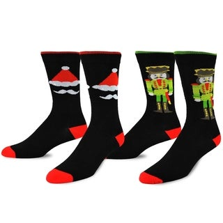 Men's Christmas Nutcracker Red/ Black Crew Socks (2 Pack)