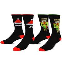 TeeHee Christmas and Holiday Fun Crew Socks for Men 2-Pack (Nutcracker and Santa)