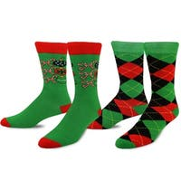 TeeHee Christmas and Holiday Fun Crew Socks for Men 2-Pack (Argyle and Ho Ho Ho)