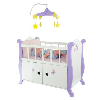 Olivia's Little World Little Princess 18-inch Doll Baby Nursery Bed with Cabinet