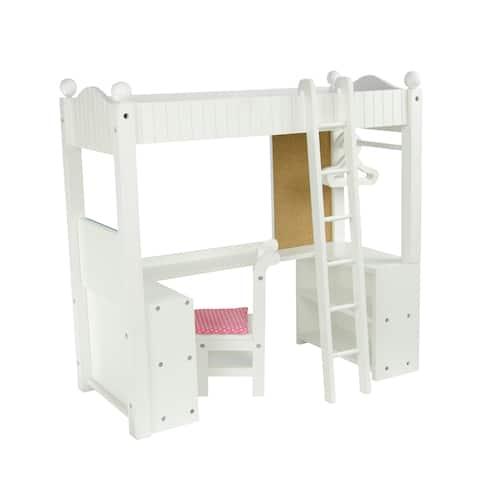 Olivia's Little World - College Dorm Double Bunk Desk - White