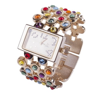 Multi Colored Hand Blazed Crystal Watch by Jimmy Crystal