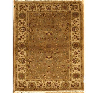 Hand-knotted Essex Brown Wool Runner Rug (India)
