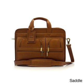 Muiska Vaquetta Leather New York Express Double Compartment 17-inch Laptop Briefcase
