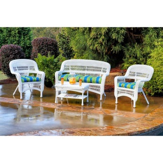 Copper Grove Lagunas Outdoor 4-piece Seating Set with Coastal White Wicker