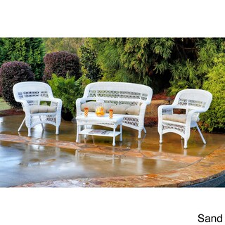 Copper Grove Lagunas Outdoor 4-piece Seating Set with Coastal White Wicker (More options available)