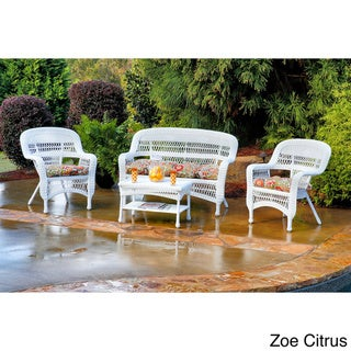 Tortuga Outdoor 4-piece Portside Seating Set with Coastal White Wicker