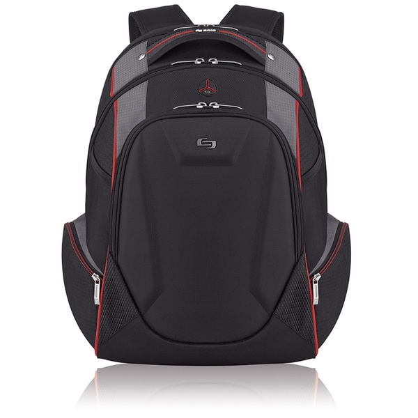 Solo ACV711-4 17.3-inch Laptop Black Hardshell Backpack with Front Zippered Pocket