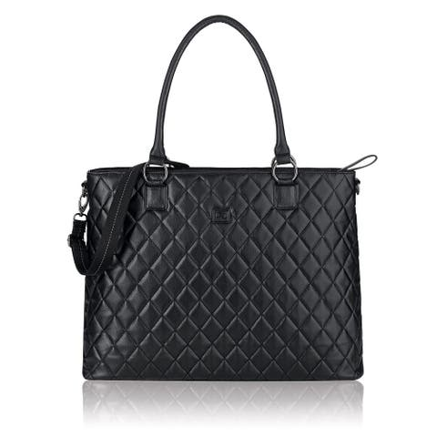 Solo Classic Quilted 15.6-inch Black Laptop Tote