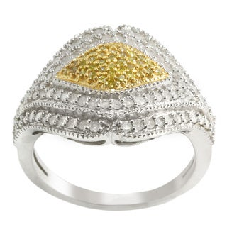 Sterling Silver 1 ct TDW White and Yellow Diamond Wide Ring