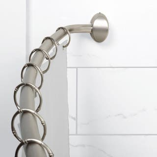 NeverRust Brushed Nickel Curved Shower Rod and Rings With White Shower Curtain Liner - Silver